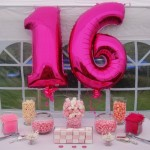 PInk and White with balloons