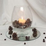 brandy glass with pine cones