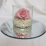 cylinder vase with pearls and roses