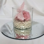 cylinder vase with pearls rose and butterfly