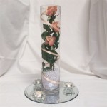 large cylinder with 3 roses