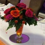 mini tapered vase with roses and gerberas