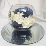 single fish bowl orchid and sash