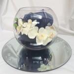 single fish bowl orchid and sash